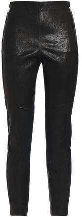 Marissa Jersey-Paneled Textured-Leather Leggings