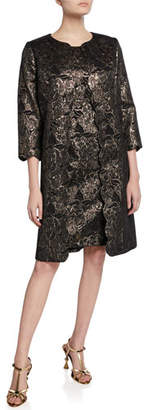 Albert Nipon Two-Piece Metallic Dress & Topper Set