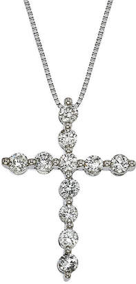 FINE JEWELRY Womens 1/2 CT. T.W. Genuine White Diamond 14K Gold Cross Pendant Necklace