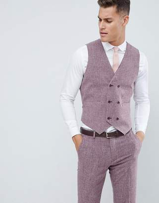 Hatch ASOS DESIGN wedding skinny suit vest in dark wine cross