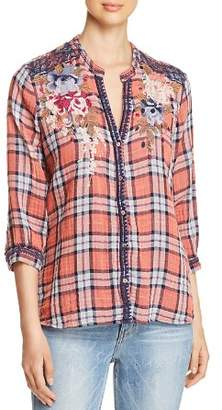 Johnny Was Pascal Embroidered Plaid Top