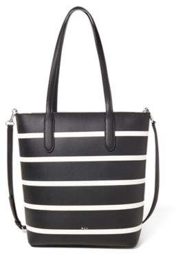 Ralph Lauren Leather Alexis Tote Black/Vanilla Stripe One Size