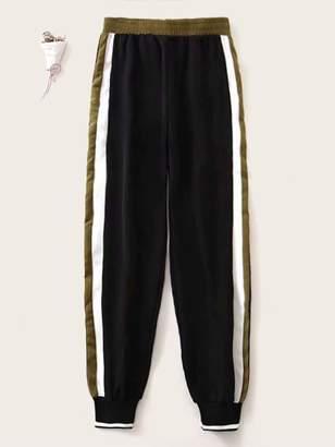 Shein Contrast Stripe Side Elastic Waist Sweatpants