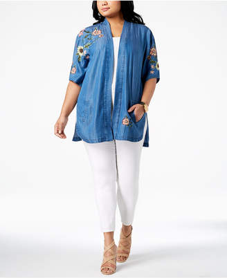 Style&Co. Style & Co Plus Size Summer Tide Embroidered Kimono, Created for Macy's