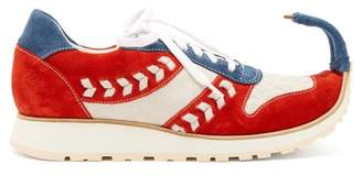 Loewe Dinosaur Turn Up Suede Trainers - Womens - Red White