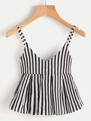 Shein V Neck Vertical Striped Babydoll Cami Top