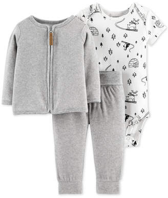 Carter's Baby Girls 3-Pc. Printed Bodysuit, Fleece Cardigan & Pants Set
