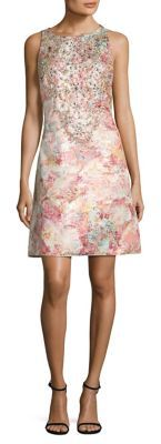 Aidan Mattox Jeweled Floral Brocade Dress $350 thestylecure.com