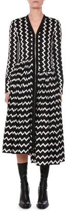 Stella McCartney Zigzag-Print Zip-Front Asymmetric-Hem Silk Dress