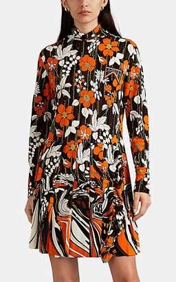 Prada Women's Floral Cady Wrap Dress - Orange