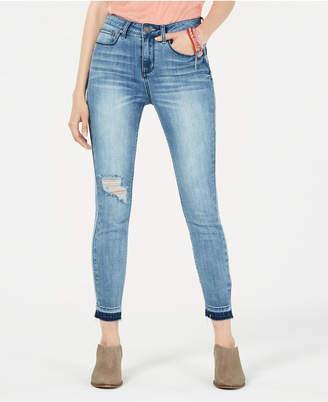Indigo Rein Juniors' Ripped Released-Hem Skinny Jeans