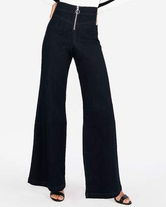 Express Super High Waisted Exposed Zip Stretch Wide Leg Jeans
