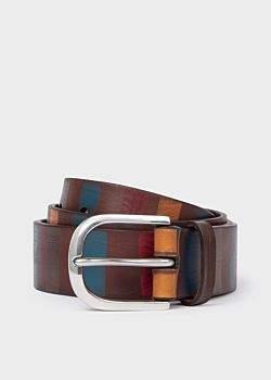 Men's Brown Stripe Leather Belt