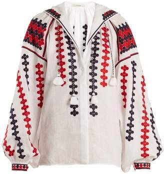 VITA KIN Riverbank embroidered mid-weight linen blouse