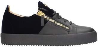 Giuseppe Zanotti Black Velour And Leather Sneakers