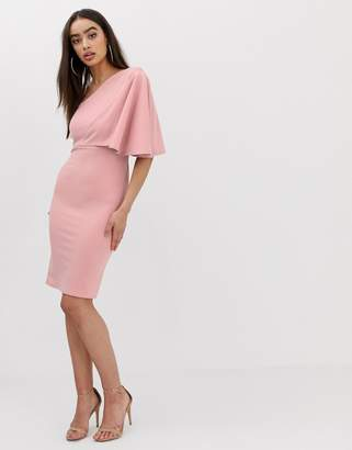 Club L London one shoulder ruffle sleeve dress