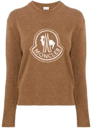 Moncler lace embellished logo jumper