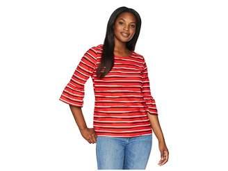 Jones New York Scoop Neck Elbow Sleeve w/ Bell Cuff Top Women's Clothing