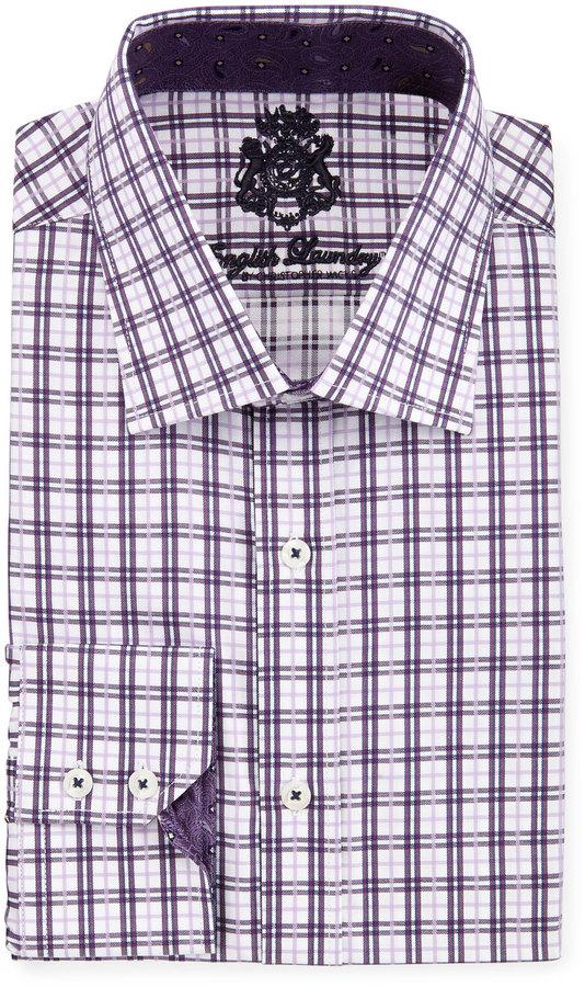 English Laundry Plaid Poplin Dress Shirt, Purple