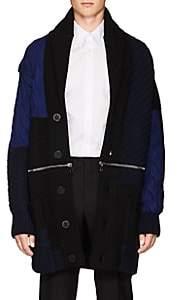 Alexander McQueen Men's Zip-Detail Mixed-Knit Wool Cardigan-Navy