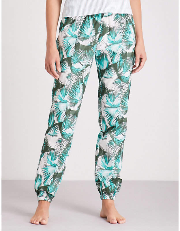 Palm-print cotton pyjama bottoms