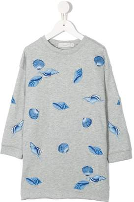 Stella McCartney June Shells embroidered sweatshirt dress