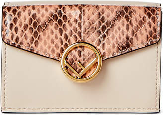 Fendi Camelia Apricot Micro Tri-Fold Leather Wallet