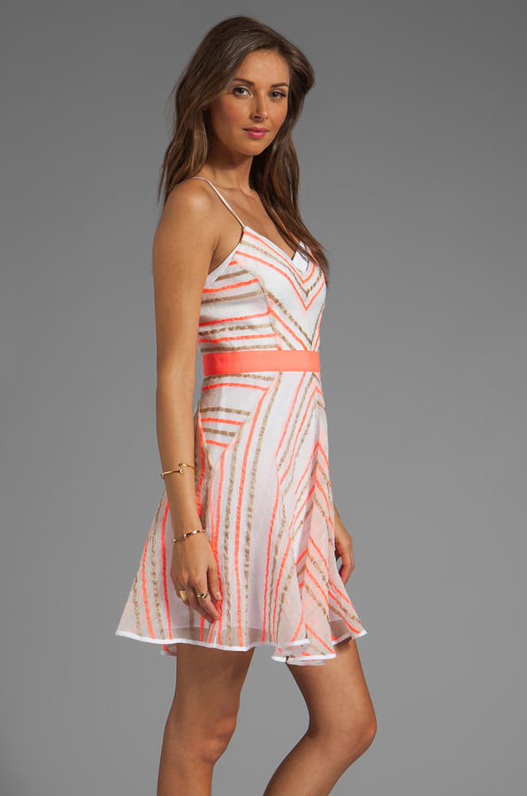 Milly Neon Stripe Jacquard Sadie Double Layer Dress