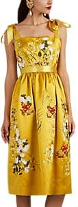 Alice Archer Women's Floral-Embroidered Satin Midi-Dress - Gold