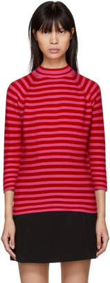 Marc Jacobs Red and Pink Striped Mock Neck Sweater