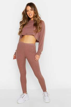 boohoo Petite Ribbed Crop Hoodie & Legging Set
