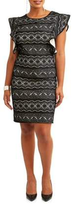 Paperdoll Women's Plus Size Flutter Sleeve All Over Lace Dress