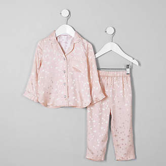 River Island Mini girls pink planet satin pajama set
