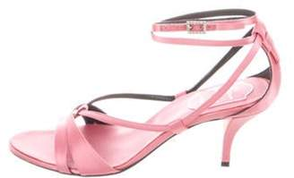 Roger Vivier Satin Wrap-Around Sandals Pink Satin Wrap-Around Sandals