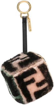 Fendi Logo Print Shearling Dice Charm
