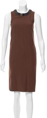 Gucci Wool-Blend Leather-Trimmed Dress