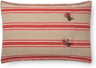 Lulu & Georgia Roxy Lumbar Pillow, Natural and Red
