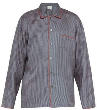 All At Sea - Wave Print Silk Satin Pyjama Top - Mens - Blue