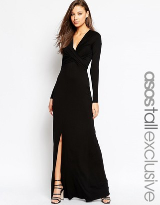 ASOS Tall ASOS TALL Wrap Front Maxi Dress With Tie Waist $65 thestylecure.com