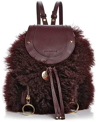 See by Chloe Olga Small Lamb Fur & Leather Backpack
