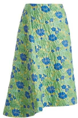 Jil Sander Falsetto Floral Brocade Wrap Skirt - Womens - Green Multi