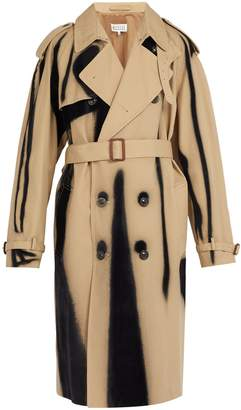 Maison Margiela Spray-effect flocked twill trench coat