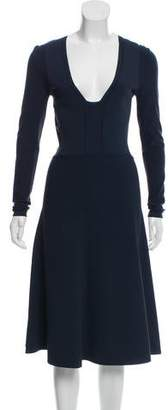 Narciso Rodriguez Long Sleeve Rib Knit Dress