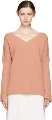 Stella McCartney Pink Ribbed V-Neck Sweater