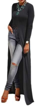 Zamtapary Women Casual Long Sleeve High Slit Front Pullover Long T-Shirt Maxi Dress M