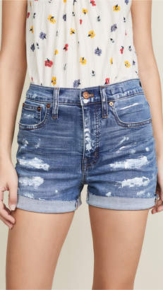 Madewell High Rise Denim Shorts with Paint Spatters