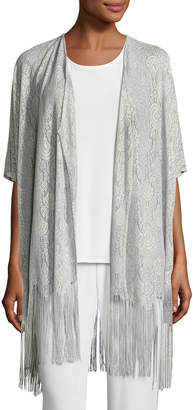 Caroline Rose Fringe Benefit Crochet Caftan Cardigan, Silver, Petite