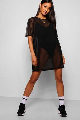 boohoo Oversized Mesh T-Shirt Dress