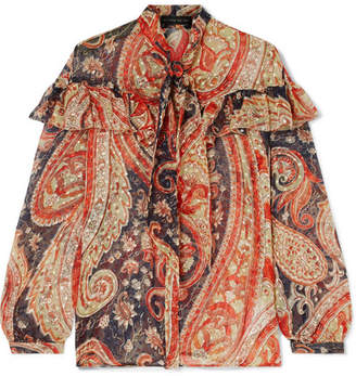 Etro Ruffled Printed Fil Coupé Silk-blend Chiffon Blouse - Red