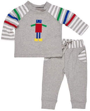 Florence Eiseman French Terry Robot Top w/ Matching Pants, Size 6-24 Months